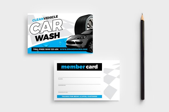 car wash templates pack flyer templates creative market - Car Wash Business Cards