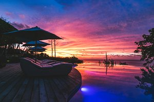Magical sunset at swimming pool