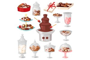 Chocolate candy vector sweet confection dessert with cocoa in glass jar in confectionery shop illustration of tasty choco truffle in vase of candyshop set isolated on background
