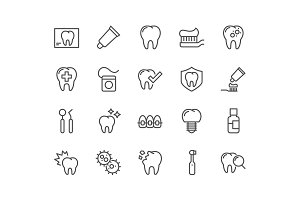 Line Dentist Icons