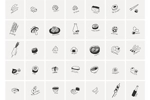 japanese food. Hand drawn