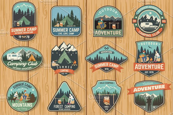 Summer Camp Badges in Illustrations - product preview 1