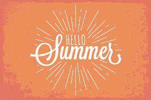 Hello Summer Vintage Lettering.