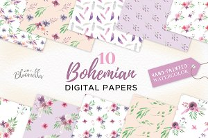 Bohemian Flower Patterns Feather