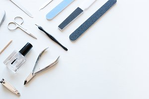 tools for manicure with copyspace