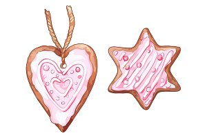 Christmas gingerbread cookie vector