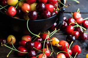 Organic sweet cherries food concept