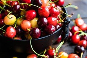 Organic sweet cherries food concept