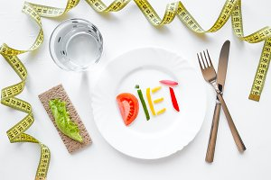 "plate with the word ""diet"""
