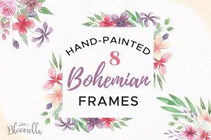 Bohemian Floral Frames Borders Set