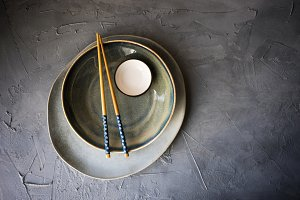 Table serving concept with chopstick