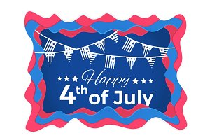 Happy 4th of July Abstract illustration with paper cut shapes