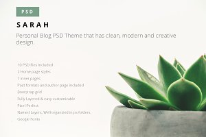 Sarah PSD Blog Theme