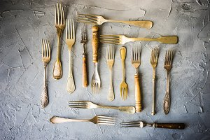 Vintage forks in rustic flatlay