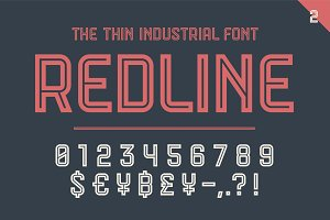 Numeric and symbol font Red Line