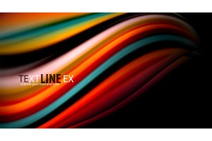 Fluid rainbow colors on black background, vector wave lines and swirls