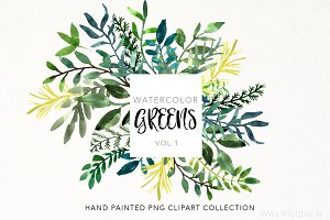 Watercolor Greens Clipart Leaves