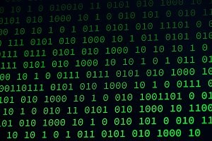 01 or binary data on the computer screen isolated on black background, 3d illustration