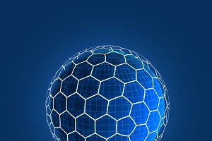 Sphere shape with network connection lines in technology concept, 3d abstract illustration
