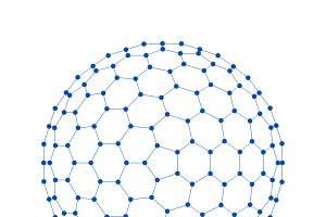 Blue sphere. Network connections with points and lines on white background in technology concept. 3d illustration
