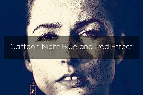 Cartoon Night Blue And Red Effect