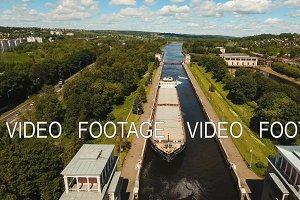 Gateway on the river. Sluice Gates.