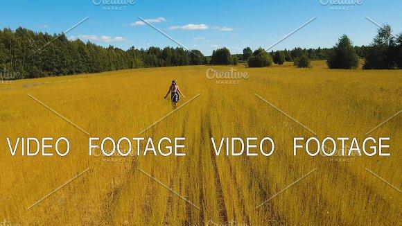 Summer Landscape Girl Field Of Flax
