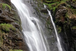 Water falling into midway pool at waterfall of Pistyll Rhaeadr in Wales