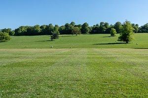 Scene across farmland in Derbyshire in UK