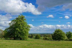 Scene across farmland in Herefordshire in UK