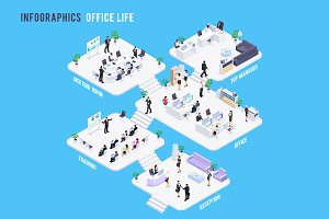 Isometric office work infographic.