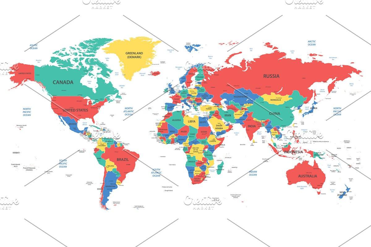 Detailed World Map Illustrations Creative Market