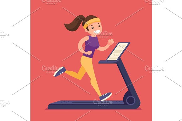 Young Caucasian White Woman Running On Treadmill
