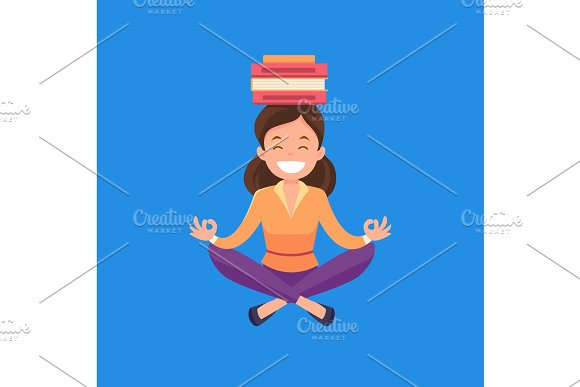 Business Woman Meditating In Lotus Position