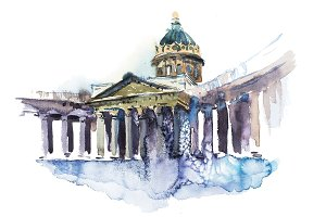 Kazan Cathedral in St Petersburg, Russia Cathedral of Our Lady of Kazan Watercolor