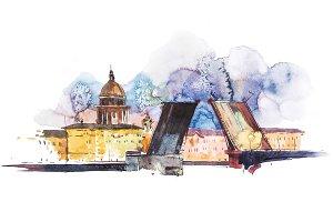 Breeding bridges in St. Petersburg Russia. Watercolor illustration.