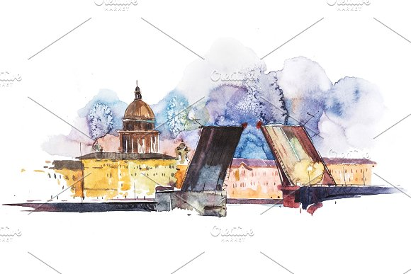 Breeding Bridges In St Petersburg Russia Watercolor Illustration