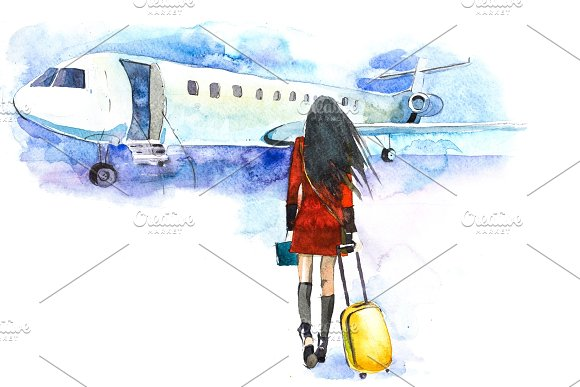 Woman Traveler With Luggage Going To Plane Girl Tourist Passager Walking In To Airplane At Airport