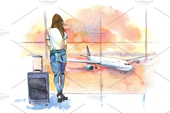 Travel Woman Traveler In Airport Looking At Aircraft Through Glass Window Girl Tourist Waiting Airplane Departure