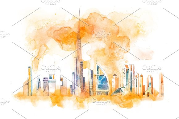 Skyline Of Dubai Cityscape Landmark Skyline Watercolor Illustration