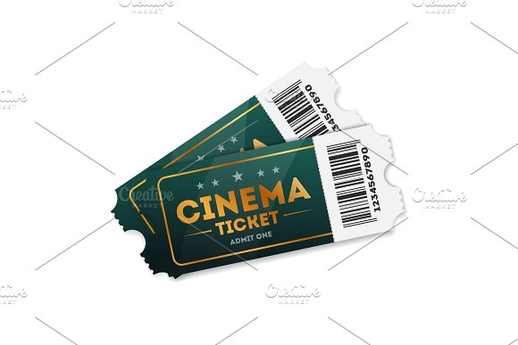 Illustration Of Cinema Tickets On White