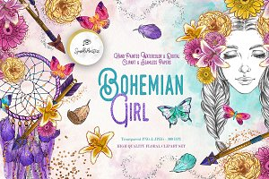 Bohemian Girl Digital Clipart Set