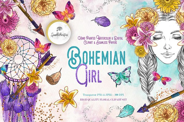 Bohemian Girl Digital Clipart Set