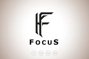 Focus F Letter Logo Template
