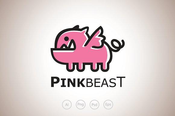 Pink Pig The Beast Logo Template