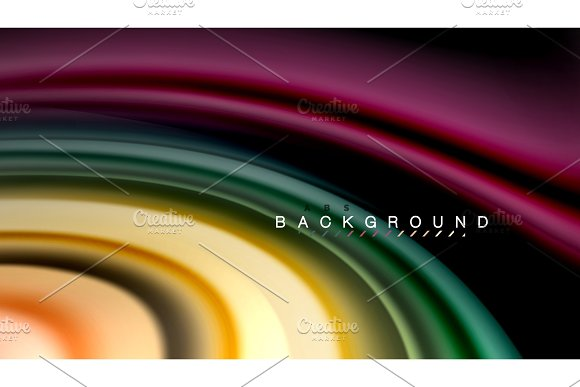 Abstract Wave Lines Fluid Rainbow Style Color Stripes On Black Background