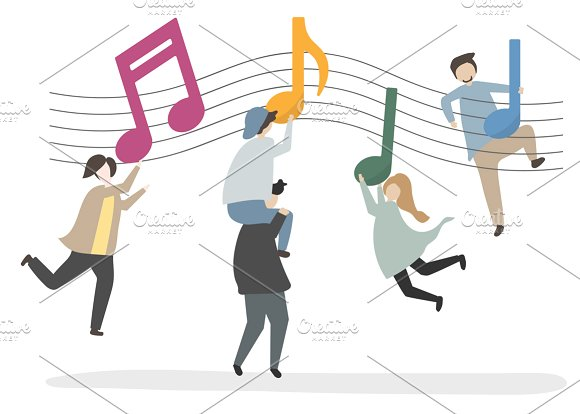 Illustration Of Characters And Music