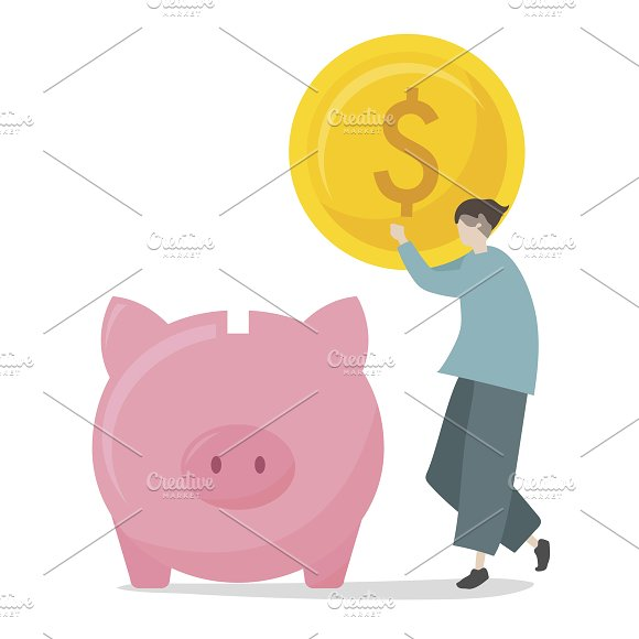 Illustration Of Saving In Piggy Bank