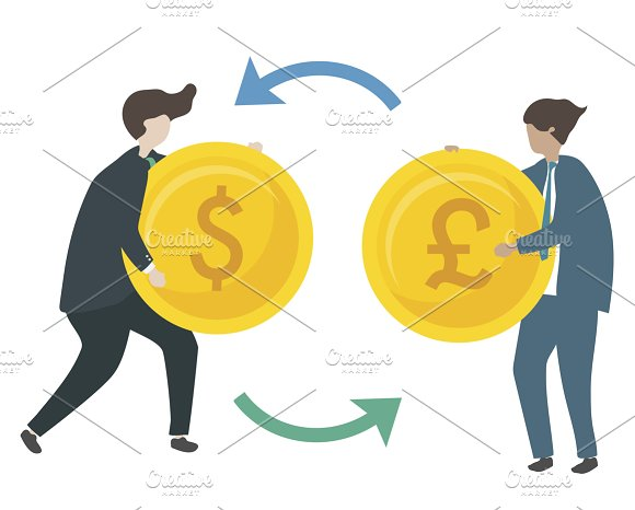 Illustration Of Exchanging Money