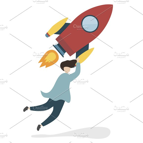 Illustration With A Flying Rocket